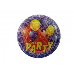 23cm Let's Party Paper Plates -Retail packaging -Oh My Packaging